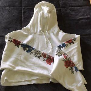 White hoodie crop top